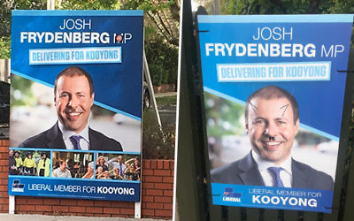 The vandalised posters.