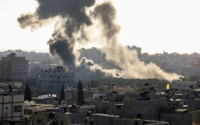 Smoke rises following an Israeli air strike in the Gaza Strip, May 4, 2019. (Hassan Jedi/Flash90)