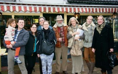 Rebecca Moen (fifth from left) and Martin Moen (fourth from left) at the 2013 gathering of the Moens with descendants of the Dutch rescuers.