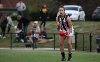 Ally Bild in action for Collingwood's VFLW team. Photo: Shane Barrie