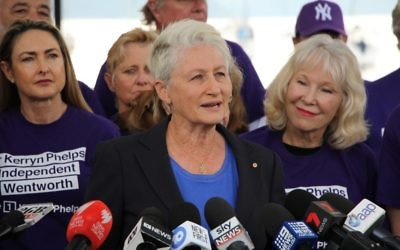 Kerryn Phelps flanked by supporters.