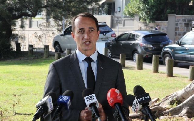 Dave Sharma addressing the media. Photos: Gareth Narunsky
