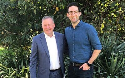 Opposition Leader Anthony Albanese (left) with Labor MP Josh Burns.