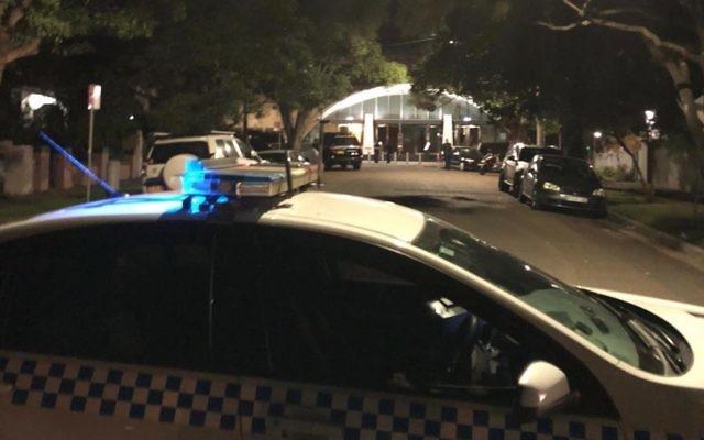 Police outside Sydney's Central Synagogue on Sunday night. Photo: AJN