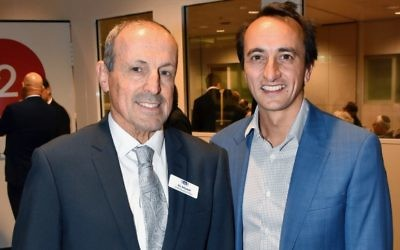 NSW Jewish Board of Deputies CEO Vic Alhadeff (left) and Liberal candidate for Wentworth Dave Sharma. Photo: Noel Kessel