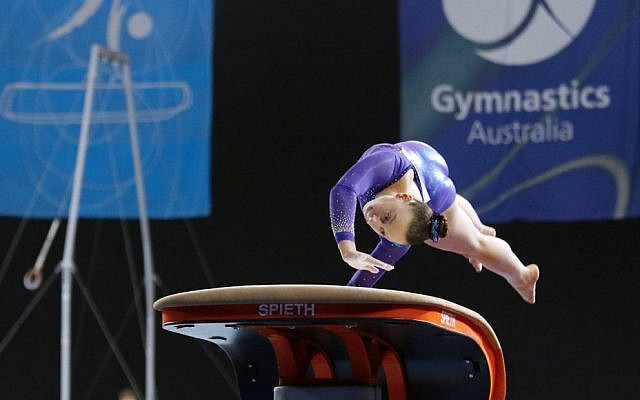 Sydney's Jaymi Aronowitz in action on the beam at the 2019 Australian Gymnastics Championships at Melbourne Arena last week. Photo: Peter Haskin
