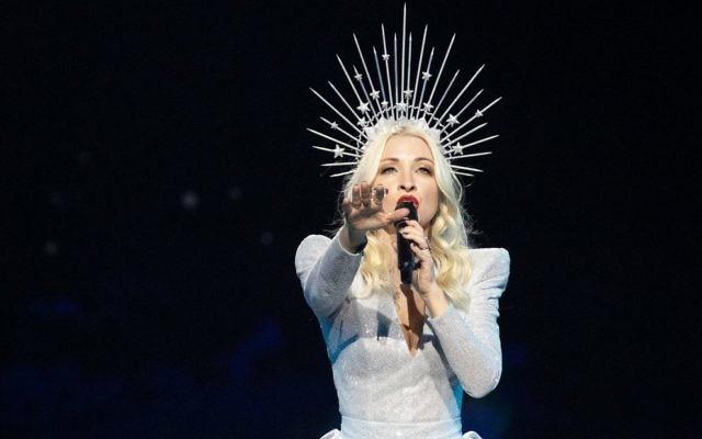 Kate Miller-Heidke performing at the Eurovision semi-final in Tel Aviv. Photo: SBS