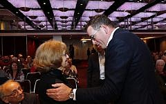 Daniel Andrews talking with Holocaust survivor Ana de Leon at the Gandel Holocaust Education Conference in 2019. Photo: Peter Haskin
