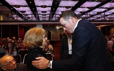 Victorian Premier Daniel Andrews speaking with Holocaust survivor Ana de Leon at the Gandel Holocaust Education Conference opening. Photo: Peter Haskin