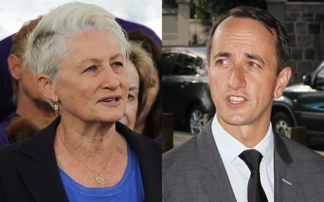 Kerryn Phelps (left) and Dave Sharma in Sydney on Monday.