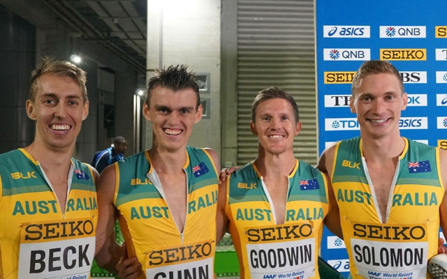 Australia's 4x400m men's relay team at the 2019 World Relay Championships in Yokohama, led by Steven Solomon (on right).
