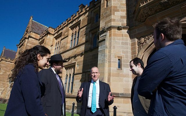 From left: AUJS University of Sydney president Janine Joseph, Jewish chaplain Rabbi Eli Feldman, university vicechancellor Dr Michael Spence, AUJS political affairs director Joshua Kirsh and chairperson Josef Wilkinson. Photo: Giselle Haber