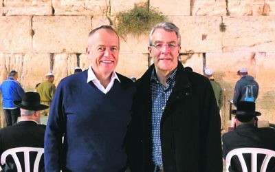 Mark Dreyfus (right) with ALP leader Bill Shorten at the Kotel.