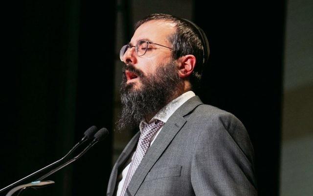 Central Synagogue chazan Rabbi Yehuda Niasoff at last week's Yom Hazikaron service. Photo: Nadine Saacks