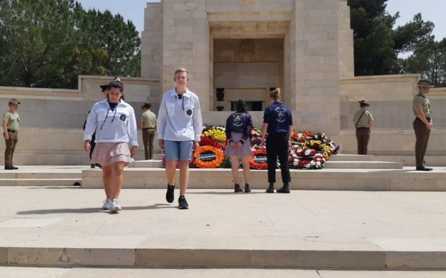 Australian Jewish youth movement delegates laid wreaths during the Anzac Day ceremony.