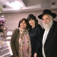 Rebbetzin Shternie Ulman (centre) with Rabbi Yisroel Goldstein and sister Leah Perl.