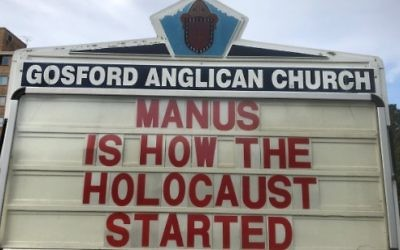 The sign outside Father Rod Bower's church. Photo: Twitter