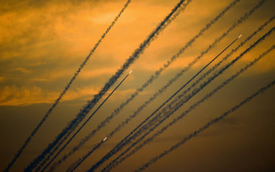Rockets fired from Gaza to Israel last weekend. Photo: AP Photo/Ariel Schalit