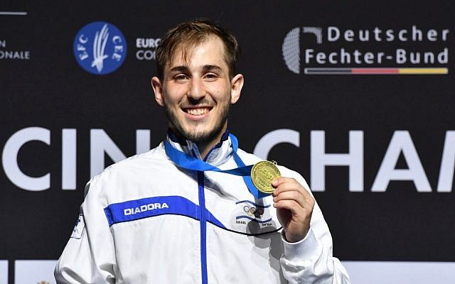 Yuval Freilich with his gold medal. Photo: European Fencing Confederation