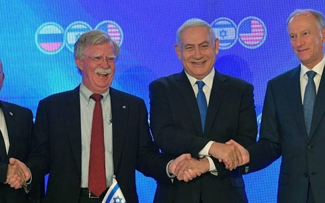 From left, Israel's national security adviser, Meir Ben Shabbat; his U.S. counterpart, John Bolton; Israeli Prime Minister Benjamin Netanyahu; and Secretary of the Russian National Security Council Nikolai Patrushev in Jerusalem, June 25, 2019. (Kobi Gideon/Israeli Government Press Office)