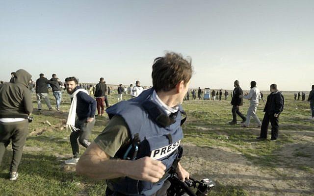 Todd Sampson (centre) at the Gaza-Israel border protests. Photo: Network Ten