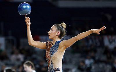 30-5-19. Australian Gymnastics Championships. Melbourne Arena. Alexandra Kiroi-Bogatyreva. Rhythmic, ball. Photo: Peter Haskin