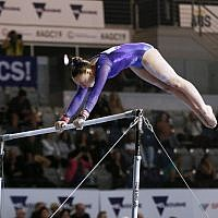 23-5-19. Australian Gymnastics  Championships, Melbourne. Women's Artistic. Jaymi Aronowitz from NSW. Uneven bars. Photo: Peter Haskin