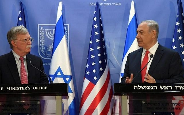 U.S. National Security Advisor John Bolton and Israeli Prime Minister Benjamin Netanyahu meet in Jerusalem on June 23, 2019. (Haim Zach/GPO)