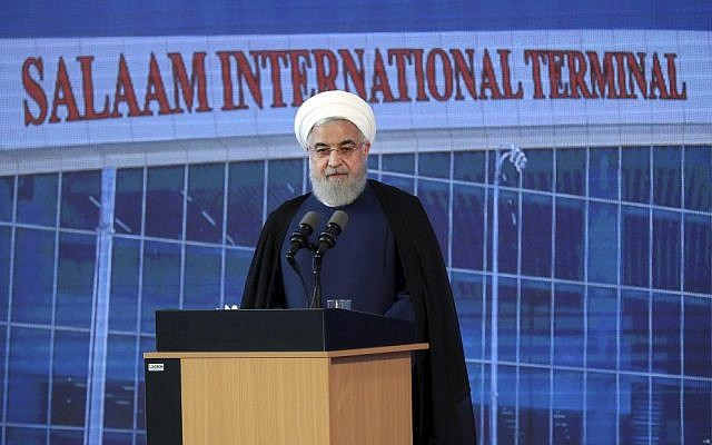 Iranian President Hassan Rouhani at the opening of Imam Khomeini International Airport on Tuesday. Photo: Iranian Presidency Office/AP