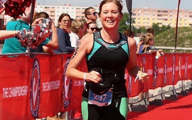 Lisa Zilberpriver reaches the finish line in Samorin on June 2.