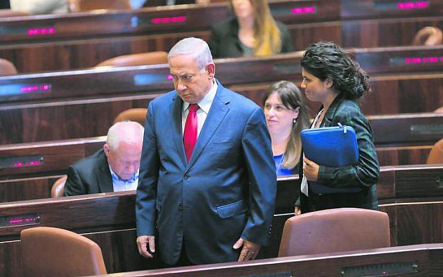 Benjamin Netanyahu in the Knesset for a vote on the dissolution bill last week. Photo: EPA/Abir Sultan