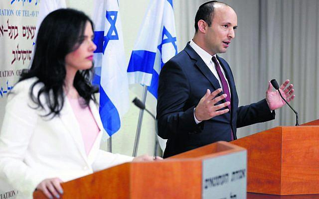 Ayelet Shaked and Naftali Bennett. Photo: EPA/Abir Sultan