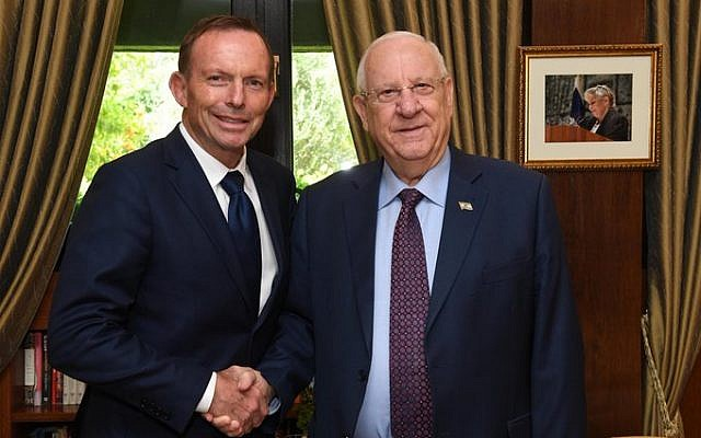 Tony Abbott meeting with Israeli President Reuven Rivlin during his trip to Israel.