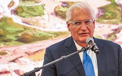 US Ambassador to Israel David Friedman speaks at the opening of Pilgrimage Road at the City of David archaeological site in the eastern Jerusalem neighborhood of Silwan, on June 30, 2019. (Flash90)