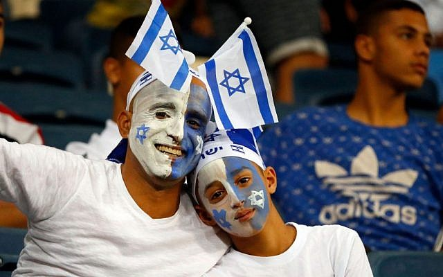 Israeli soccer fans at a previous match in Haifa. Photo: Jack Guez/AFP/Getty Images