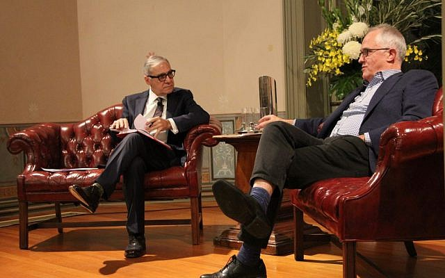 John Mangos (left) interviewing Malcolm Turnbull at Sunday's Friends of Wolper Hospital event.