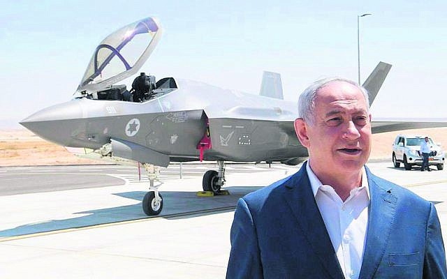 Benjamin Netanyahu in front of a F-35 fighter jet at the Israeli Air Force's Nevatim base. Photo: Amos Ben Gershom/GPO