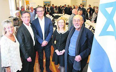 From left: Miri Orden, Allan Vidor, Jason Sandler, Gabrielle Upton MP and David Nathan in the refurbished centre. Photo: Shane Desiatnik