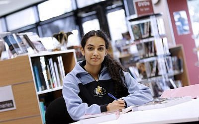 Ramona Chrapot in the Mount Scopus Memorial College library. Photo: Peter Haskin