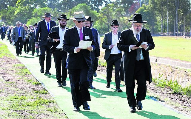 Consecration of the Jewish section at Rookwood Cemetery last year, led by Rabbi Yehoram Ulman. Photo: Noel Kessel