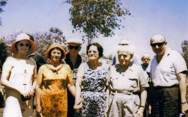 From left: Eva Besen, Fay and Sam Gandel, Paula and David Ben-Gurion, Marc Besen in Sde Boker, 1958.