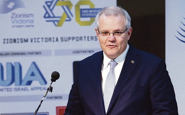 Scott Morrison, pictured speaking at Beth Weizmann Community Centre in 2018, has once again stood up on the world stage for Israel. Photo: Peter Haskin