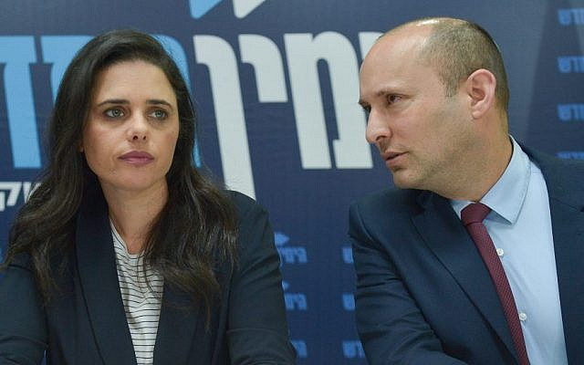 Ayelet Shaked and Naftali Bennett hold a news conference for the New Right party in Tel Aviv, March 17, 2019. (Flash90)