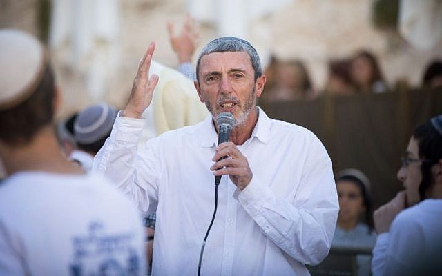 Israeli Education Minister Rafi Peretz speaks at the Western Wall in Jerusalem, July 4, 2019. (Yonatan Sindel/Flash90)