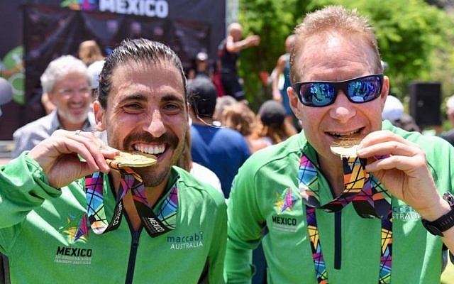 Among the 16 gold medal winners were endurance athletes Daniel Rifkin (left) and Alan Kaplan, who were triathlon and Maccabi Man champions. Photo: Julie Kerbel