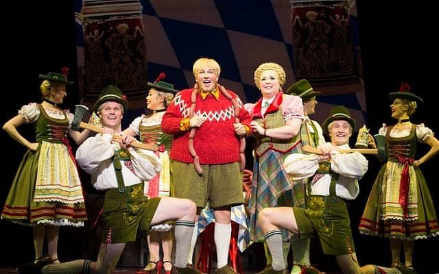 Jake Fehily as Augustus Gloop (centre) and Octavia Barron Martin as Mrs Gloop. Photo: Jeff Busby