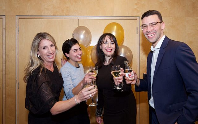 From left: Tahlia Gordon, Ariella Shatari, Hilit Man and Jesse Klass toast l'chaim to BJE for its 110th birthday. Photo: Giselle Haber