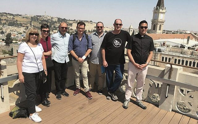 The AIJAC Rambam visitors in Jerusalem's Old City, from left, Pastor Donna Kipps, Deacon Elizabeth Dyson, Rabbi Ralph Genende (group liaison), Reverend Timothy Hein, Daniel Hill, Pastor David Quilty, and Reverend Patrick Senn.
