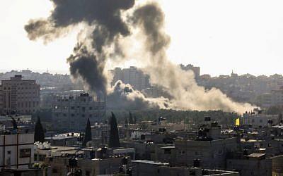 Smoke rises following an Israeli airstrike in the Gaza Strip, May 4, 2019. (Hassan Jedi/Flash90)