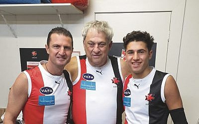 From left: Glen, Brian and Toby Sheezel last Saturday, when Toby made his senior debut for the Jackas.